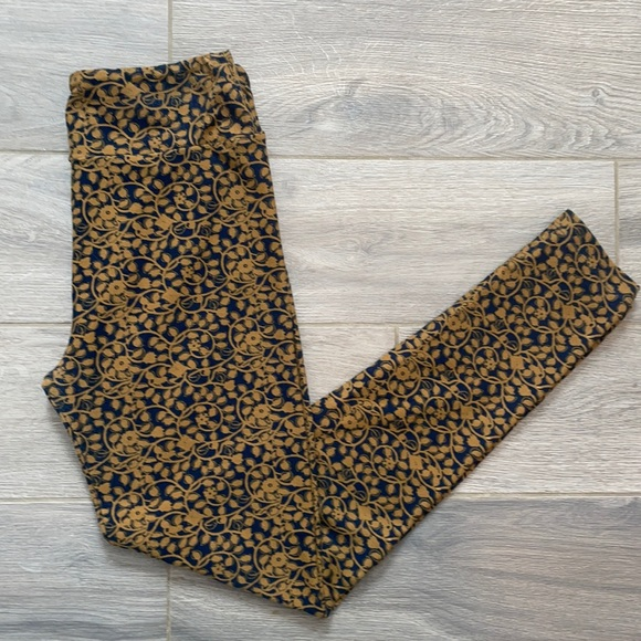 Gold and Navy Floral Leggings Lularoe